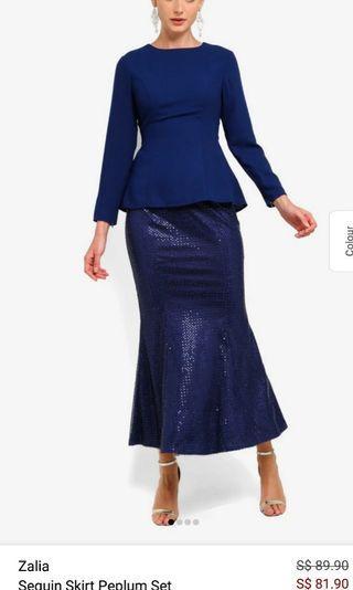 Zalia Sequin Skirt Peplum Set Dark Blue XL #seriousbuyer