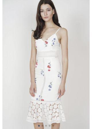 MDS Bellari Lace Dress in White Floral