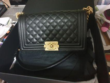 Brand new in box Chanel Boy Medium - Caviar finished with gold hardware