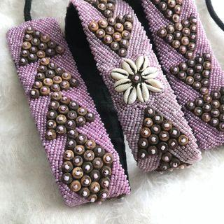 Bali Embroidered Beads Waist Belt in Lilac