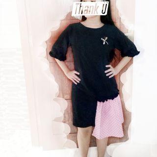 Dress kombi wanita warna hitam dan pink polkadot