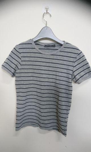 時尚灰色條紋短T(肩寬37 長60cm)