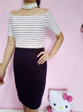 Dress bkk putih hitam