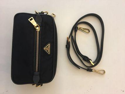 Prada black nylon sling bag