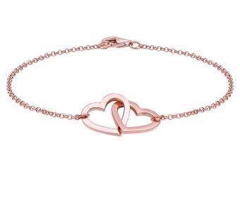 Elli Germany 925 Sterling Silver Rose Gold-Plated Hearts Bracelet