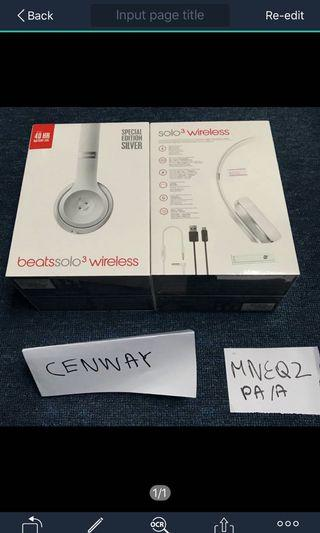 Beats Solo 3 Wireless Headphone Silver MNEQ2PA/A or Gold MNEr2PA/A