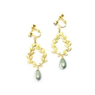 Laurels in Plated Gold with Swarovski Crystal Pearl in Sage Green