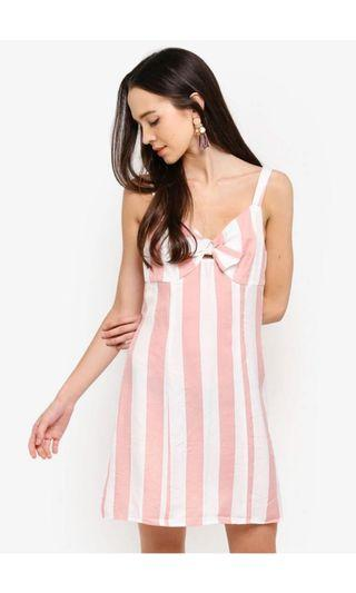 Bow Front Sleeveless Dress (pink and white stripes)