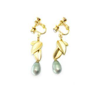 Twin Leaves in Plated Gold with Swarovski Crystal Pearl in Sage Green