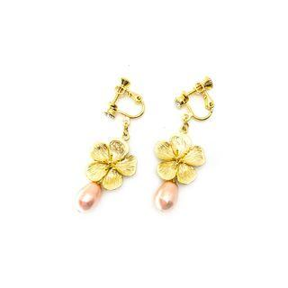 Cherry Blossoms in Plated Gold with Swarovski Crystal Pearl in Peach Pink