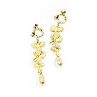 Triple Orchids in Plated Gold with Swarovski Crystal Pearl in Light Gold