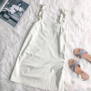 Zara Faux Leather Pinafore Off White Dress