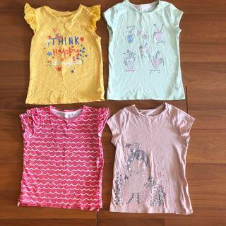 (Free postage) 4 x Mothercare Girl's Cotton T-shirts