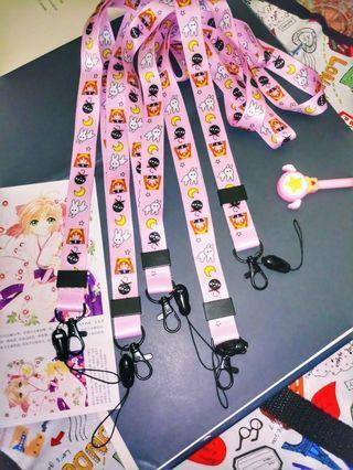 Usagi Sailor Moon ID Lace ID Lanyard Phone Straps Pink Kawai