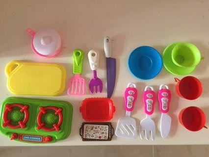 Kitchen toys, fruits and vegetables