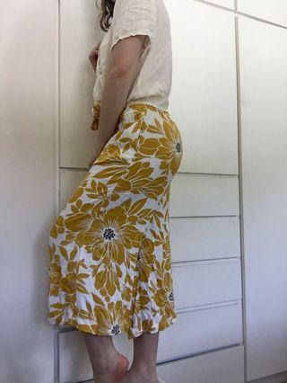 FLORAL YELLOW PANTS