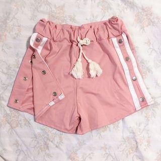 Pink jersey side button stripe high waist shorts