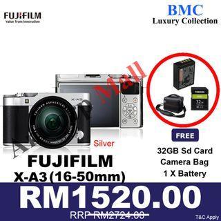 Fujifilm X-A3 / XA3 Mirrorless Digital Camera with 16-50mm Lens NEW SET READY STOCKS SILVER