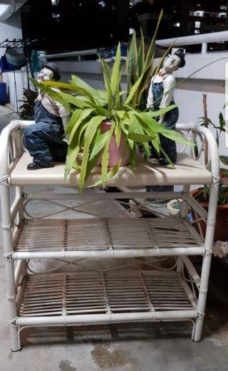 Rattan cane 3 tier rack, shelf, shelving