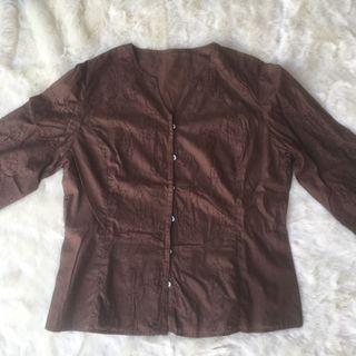 Kemeja blouse aksen rajut import