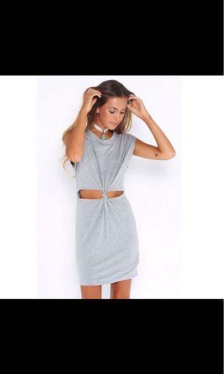 Knot twist grey dress