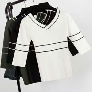 Korean Pretty  White V Neck Classy Top