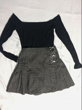 VINTAGE 90's Plaid Skirt + free BRAND NEW off shoulder top