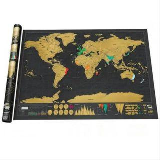 🎉Large Scratch traveling world map backpacking hiking travel backpacker