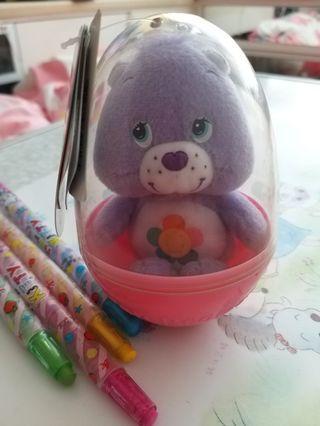 Care bears粉紫色蛋殼毛公仔 蛋殼高11cm(包平郵)