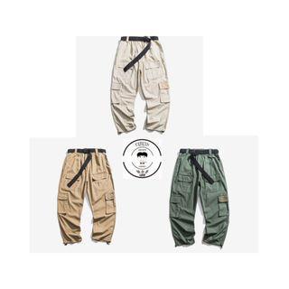『誰合普UHF®』合作品 日系復古 垂墜感 工裝口袋休閒 長褲 中性熱賣款 3色(網路特賣價$1100)起標價=直購價