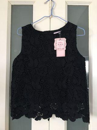 🚚 Women's Black Lace Top and Bottom