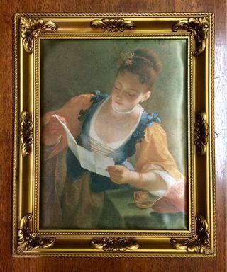 Italian Silk Painting LETTER READING IN LIGHT