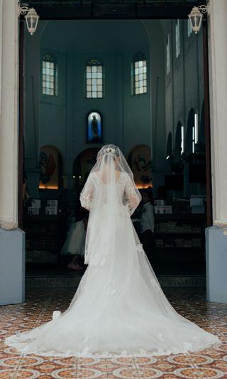 3 piece wedding gown 2m tail