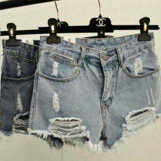Dark Denim Ripped High Waist Shorts