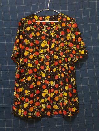 🚚 [剩屋] 古著 櫻桃造型薄襯衫