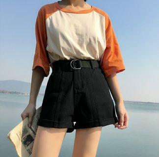 instocks black denim shorts