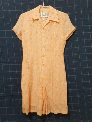🚚 [剩屋] 古著 米色連身花襯衫