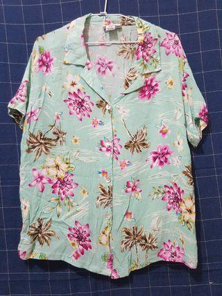 [剩屋] 古著 淺湖綠色花襯衫