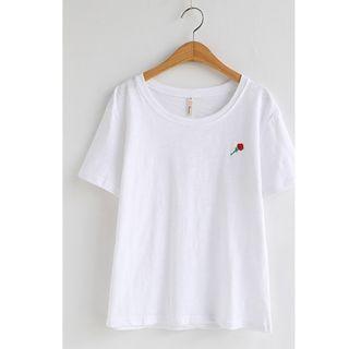韓版小清新白色刺繡玫瑰花竹節棉T恤