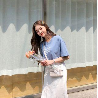 【韓國購入】清新水藍色/簡約英文印花棉質短袖T恤