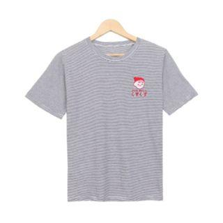 【韓國購入】少女風刺繡卡通橫條紋棉質短袖T恤
