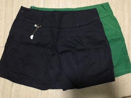 Black and Green Skorts