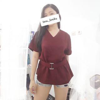 Baju wanita blouse merah