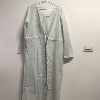 韓設計款長棉麻罩衫
