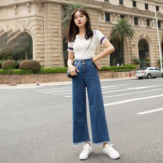 韓版九分高腰直筒毛邊牛仔褲女/L號