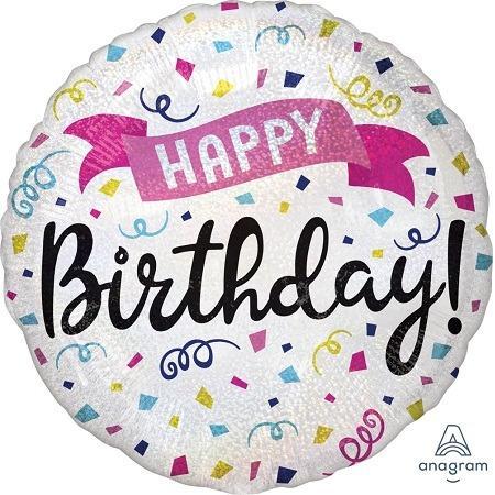 "18"" Holographic Birthday Sparkle Banner Balloon"