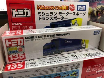 全新日版 Tomica No.135 Michelin Motor Sports Transporter 米之連貨車