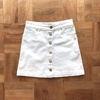 F21 White Button Down Denim Skirt
