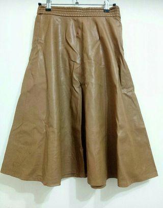 FOREVER 21膝下裙皮裙S. M🉑鬆緊腰顯瘦款