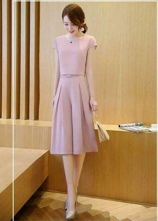 🆕Set 小香風雪紡時尚休閒短袖闊腿褲套裝 size:L